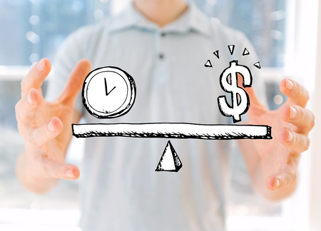 Time and money on the scale with young man holding his hands