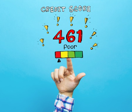 Poor credit score theme with hand on a blue background