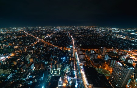 Aerial view of the Osaka cityscape at night Archivio Fotografico - 118386715