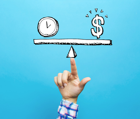 Time and money on the scale with hand on a blue background