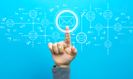 Emails with hand on a blue background Standard-Bild - 116652408