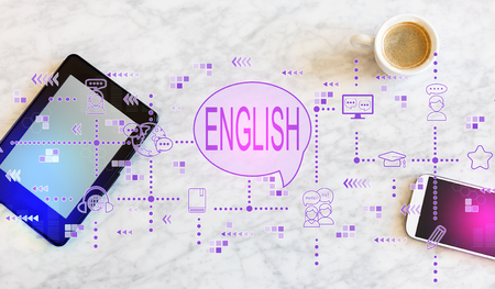 English with a tablet computer and smart phone Standard-Bild - 116652409
