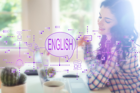 English with young woman holding a pencil Standard-Bild - 116691600