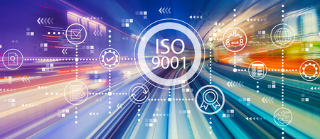 ISO 9001 with abstract high speed technology POV motion blur Stock Photo