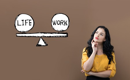 Life and work balance with young businesswoman on a brown background