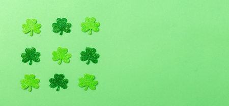Saint Patricks Day ornaments with copy space