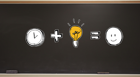 Time plus idea equals happy on a blackboard with erasers