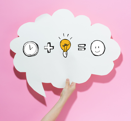 Time plus idea equals happy with a speech bubble on a pink background