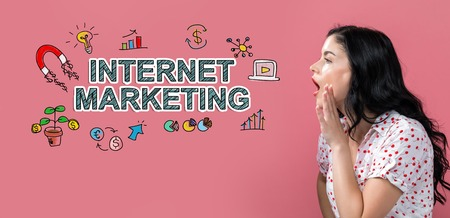 Internet marketing with young woman speaking on a pink background