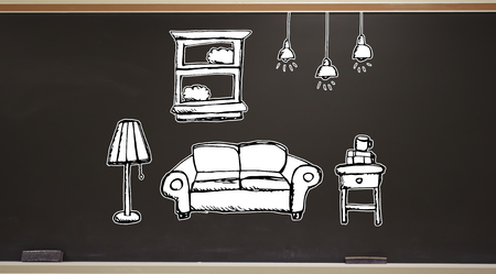 New apartment dream on a blackboard with erasers Stock Photo - 117360592