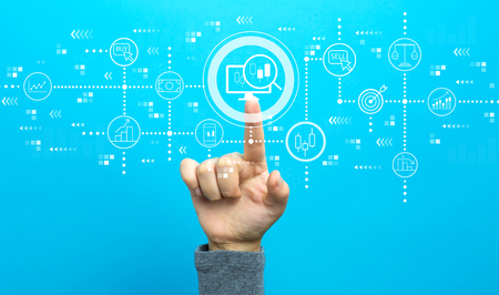 Stock trading concept with hand on a blue background
