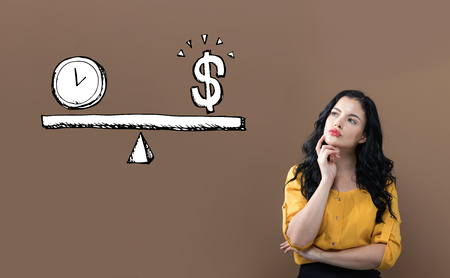 Time and money on the scale with young businesswoman on a brown background Banco de Imagens