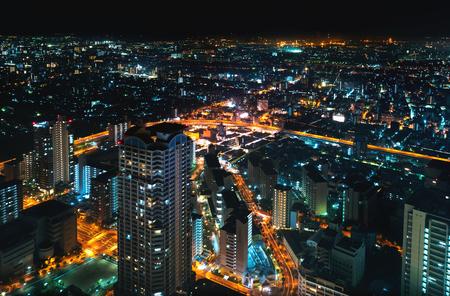 Aerial view of the Osaka cityscape at night Archivio Fotografico - 117451802