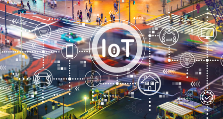 IoT theme with busy city traffic intersection Stockfoto
