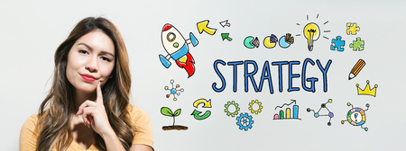 Strategy  with young woman in a thoughtful fac Stock Photo