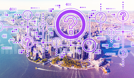 Question marks with aerial view of Manhattan, NY skyline Stock Photo - 117939147
