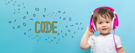 Code with toddler boy with headphones on a blue background