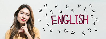 Learning English theme with young woman in a thoughtful fac
