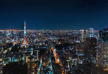 Aerial view of Tokyo Tower at night in Japan