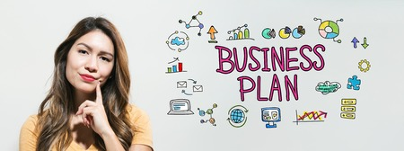 Business plan with young woman in a thoughtful fac Imagens