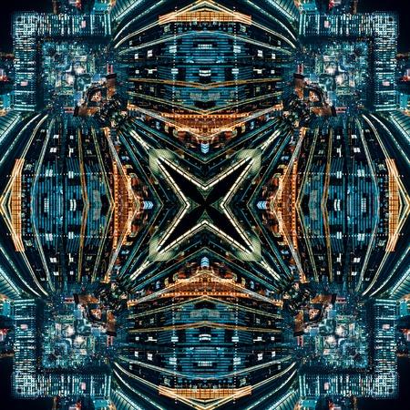 Abstraktes geometrisches symmetrisches Fraktalhintergrundmusterdesign Standard-Bild