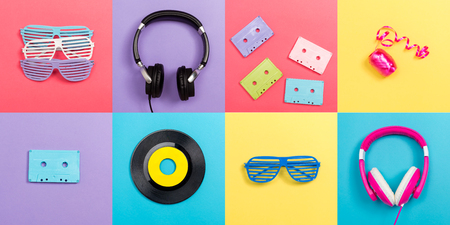 Music party theme with accessories on vibrant square titles