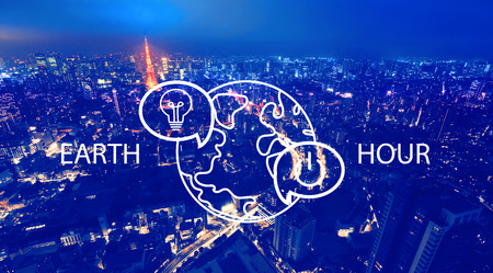 Earth hour with aerial view of Tokyo, Japan at night Stock Photo - 118421615