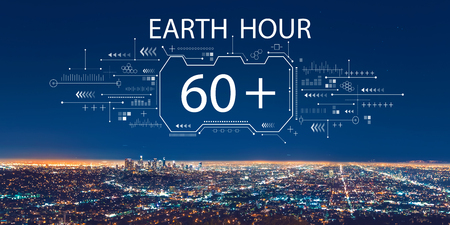 Earth hour with downtown Los Angeles at night Standard-Bild - 118421675