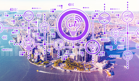 LiFi theme with aerial view of Manhattan, NY skyline