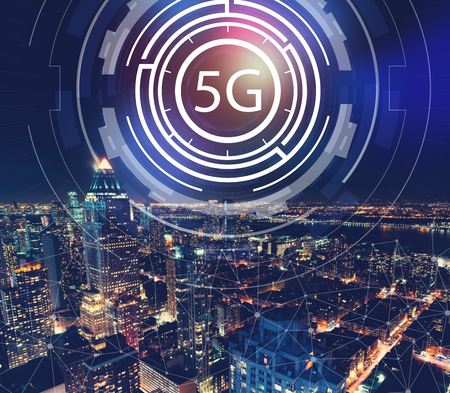 5G network with aerial view of Manhattan, NY skyline