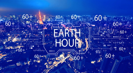 Earth hour with aerial view of Tokyo, Japan at night
