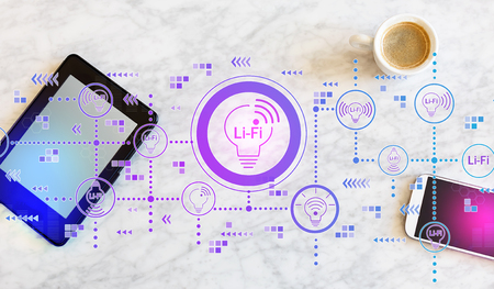 LiFi theme with a tablet computer and smart phone 스톡 콘텐츠