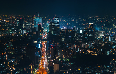 Aerial view of Shibuya, Tokyo, Japan at night