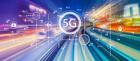 5G-Netzwerk mit abstrakter High-Speed-Technologie POV-Bewegungsunschärfe