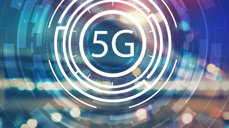 5G network with blurred city abstract lights background Stock Photo