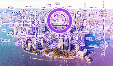Agile concept with aerial view of Manhattan, NY skyline