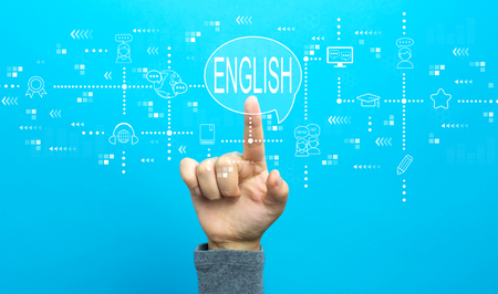 English with hand on a blue background Stock Photo
