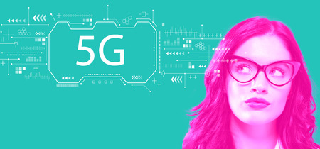 5G network with young businesswoman in a thoughtful face Stock Photo