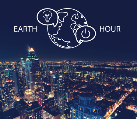 Earth hour with aerial view of Manhattan, NY skyline Stock Photo