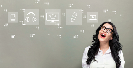 E-Learning with young businesswoman in a thoughtful face
