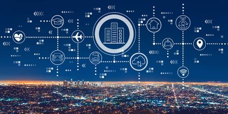 Smart city-concept met het centrum van Los Angeles 's nachts