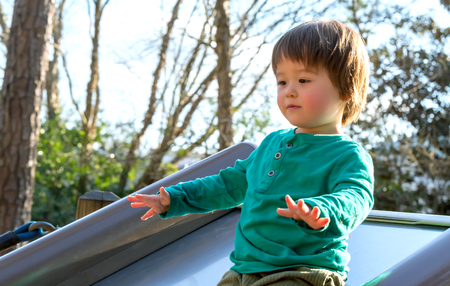 Toddler boy playing on a slide at a playground