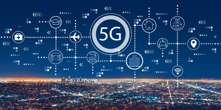 5G network with downtown Los Angeles at night Stockfoto