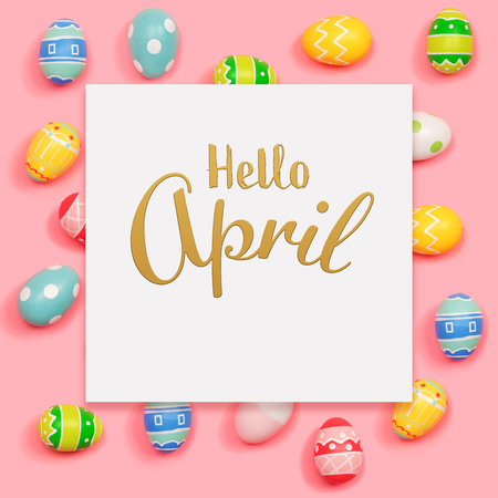 Hello April message with Easter eggs on a pink background Stock Photo