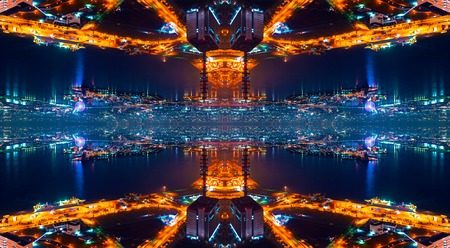 Abstract symmetrical urban grid cityscape backround design