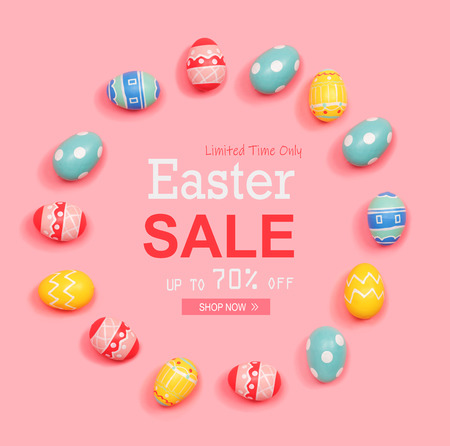 Easter sale message with round frame of Easter eggs Stock Photo