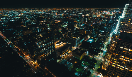 Aerial view of Downtown Los Angeles, CA at night Archivio Fotografico - 119597085