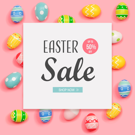 Easter sale message with Easter eggs on a pink background