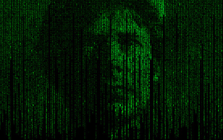 Abstract matrix digital numbers artifical intelligence ai theme with human face Imagens