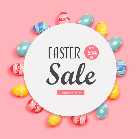 Easter sale message with round frame of Easter eggs